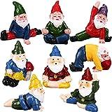 8 Piezas Estatuas Divertidas de Gnomos de Poses de Yoga Figuras de Gnomo de Hadas de Resina Adornos de Figuras de Gnomos de Jardinería en Miniatura para Decoración de Jardín Mesa Vacaciones
