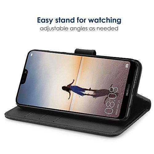 Simpeak Hülle Kompatibel mit Huawei P20 Lite, Handyhülle Kompatibel für P20 Lite Leder Flipcase [Kartensteckplätze] [Stand Feature] [Magnetic Closure Snap] - Schwarz - 3
