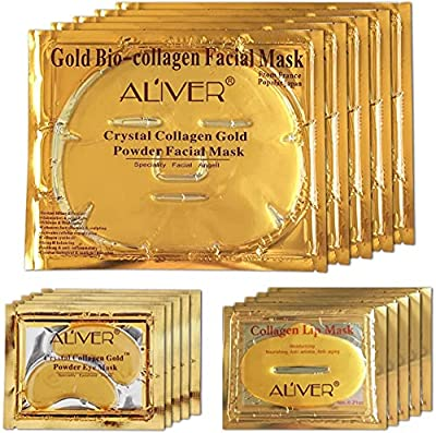 24K Gold Bio Collagen Crystal Face Mask + Eye Mask + Lip Mask, Anti ageing Skin Care (5pairs/set) by Lesb