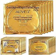 24K Gold Bio Collagen Crystal Face Mask + Eye Mask + Lip Mask, Anti ageing Skin Care (5pairs/set)