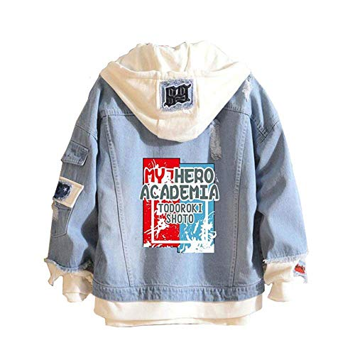 RAIN Boku No Hero Academia My Hero Academia Denim Jacket Graphic Hoodie Cosplay Unisex Anime, Blue, X-Large