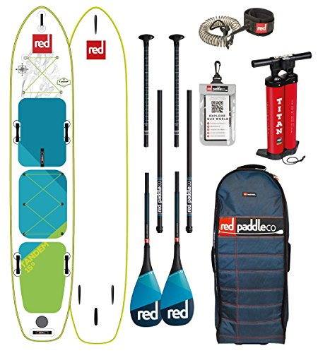 Red Paddle Co 2018 Voyager Tandem 15'0 Inflatable Stand Up Paddle Board +Bag, Pump, 2 x Paddles & Leash Paddle Option - Carbon 3-Piece