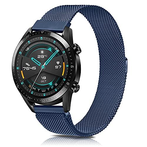 SHENL Correa Compatible con Huawei Watch GT2, 22mm Metal Pulsera de Repuesto de Acero Inoxidable para Huawei Watch GT2 Classic / GT2 Pro 46mm / Huawei Watch GT 2e / GT Sport Active 46 mm (Azul Marino)