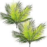 PASYOU 人工ヤシの木 プラスチック植物 植物 フェイクトロピカル低木 大きな葉 ホーム インドア アウトドア ガーデン DIY バスケット プランター フィラー ウェディングパーティー 装飾 UV耐性 2個パック