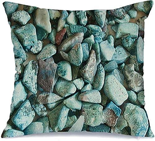 Throw Pillow Cover Funda de cojín, Gemas sin procesar Turquesa Rocas sin pulir Piedras de Moda Semipreciosas Funda de Almohada de Ciencia de la Naturaleza de Moda