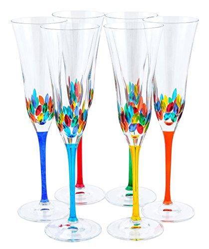 CALICE FLUTE Fiordaliso Original pintada a mano de cristal de Murano Prosecco de vasos de champán Venice Multi-colored