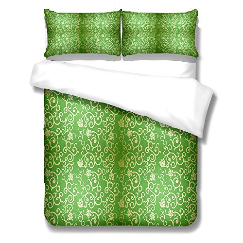 Duvet Cover Set Super King-Zipper Closure with 2 Pillow covers Bedding Set Ultra Soft Hypoallergenic Microfiber Quilt Cover Sets Green golden pattern