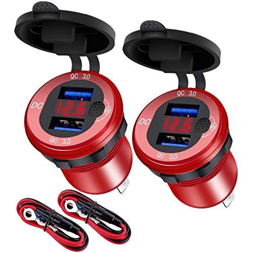 SODIAL QC 3.0 Enchufe de Cargador de Coche con Doble USB con VolíMetro e Interruptor, Cargador RáPido de 36 W y 12 V, para Coche, Barco, Motocicleta, CamióN, ATV, Rojo