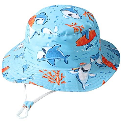 Unisexo Bebé Sombrero de Sol Tiburón Surf Azul Gorro de Pescador Pequeños Infantil Verano Exteriores Protección Solar Gorro de Playa para 6-12 Meses Niña Niño