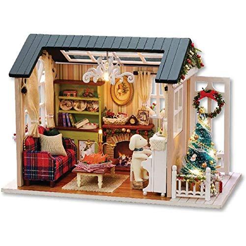 ZHANG Cabina Ensamblada de Madera 3D, Modelo de Casa de Muñecas Hecha a Mano de Bricolaje, con Cubierta Antipolvo, Regalo de Cumpleaños de Navidad de Juguete Creativo, para Los Amigos Amantes