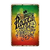 CIKYOWAY Carteles de metal Cartel verde Rasta Reggae Rhythm My Soul Escrito a mano Motivador Abstracto Rojo Jamaica Música vintage, Cartel de chapa Pintura de hierro para pared Decoración de pared Ar