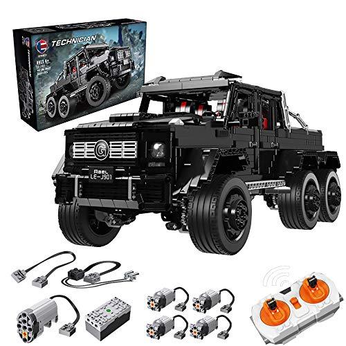 LODIY Technik Auto Ferngesteuert Bausteine G63-3300 Stück Technik 6x6 Geländewagen Truck Bausteine Sportwagen Schwarz - Kompatibel mit Lego (Mit Motor)