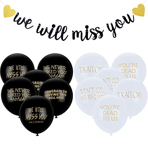 25 Pieces Office Leaver Party Supplies We Will Miss You Banner Coworker Going Away Balloons for Retirement Farewell Going Away Office Work Graduation Party Decorations
