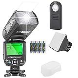 Neewer NW-561 Kit flash Speedlite para Canon Nikon Cámara réflex digital Sony Pentax con zapata estándar, incluye: (1) flash NW-561, (1) difusor suave/rígido, (1) control remoto, (4) baterías