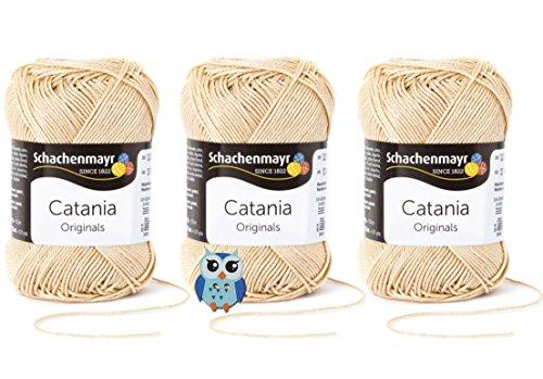 Schachenmayr Catania Wolle 3x50 Gr, 100% Baumwolle + 1 Eulen Knopf (Farbreihe 400-499) (404 Sand)