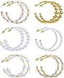 LOLIAS 6 Pares Pendientes Aro Grandes Perlas Para Mujer Pendientes Cuentas Pendientes Redondos Círculo Grande Abierto Pendientes Huggie...