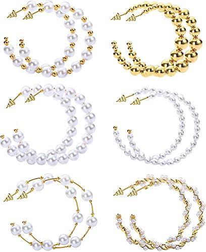 LOLIAS 6 Pares Pendientes Aro Grandes Perlas Para Mujer Pendientes Cuentas Pendientes Redondos Círculo Grande Abierto Pendientes Huggie Pendientes Medio Aro Conjuntos Joyas