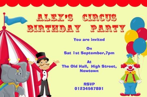 10 x Persoonlijke Circus Clown en Tent Thema Verjaardagsfeestuitnodigingen
