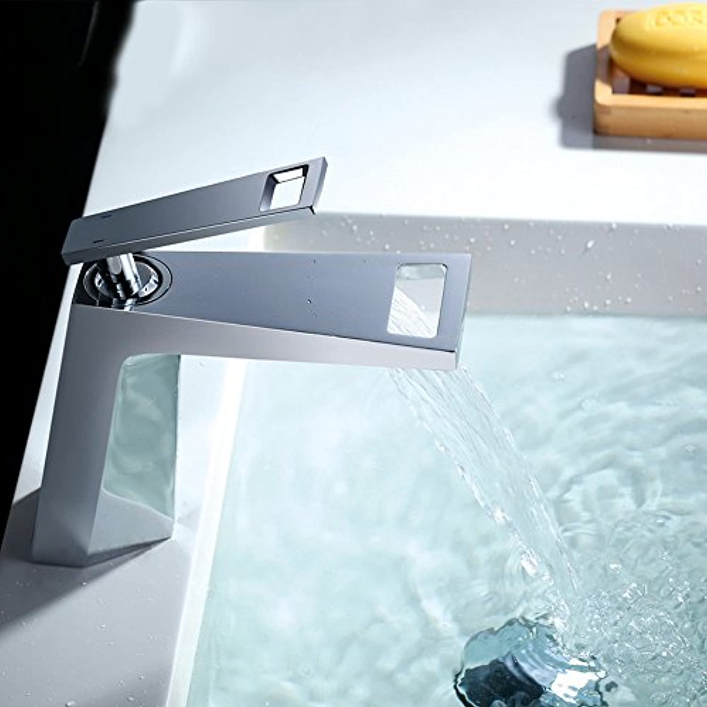 LHbox Euro-Copper Schwarz Wasserfall Oberflche Waschbecken Armaturen Badezimmer Badezimmer Schrank Schminkbereich mit Waschbecken, Warm und Kalt,