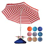 ROWHY 7.5FT Beach Umbrella with Cup Holder and Sand Bags Portable Outdoor Heavy Duty Sunshade Umbrella with Sand Anchor & Tilt System, Wind Resistant for Sand, Beach,Patio,Yard, Red-White