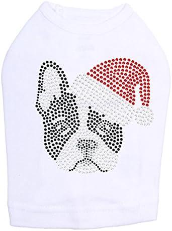 Reservation Boston Terrier with Santa Hat - Rhinestone Christmas Detroit Mall Bling Dog S