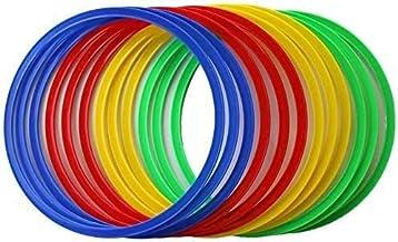 Boje Sport Vx50 set van 12 flexibele creolen, jeugd, uniseks, 3 x rood, 3 x blauw, 3 x groen, 3 x geel, ca. 45 cm.