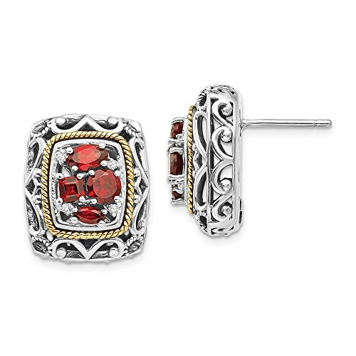 Sterling Silver With 14K Diamond and Garnet Earrings
