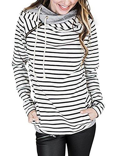 Voopptaw Damen Beiläufige Lange Ärmel Rundhals Ausgeschnitten Schulter Sweatshirt Geknotete Hemden Bluse Tops(Weiß,Large)