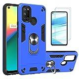 i-Case Funda para Realme 7i/C17 Protectora Case con 360° Anillo Rotacion,Hardcase & Silicona TPU Bumper,con Soporte de Coche 2 Pack Protector Pantalla para Realme 7i/C17 Cristal Templado,Azul