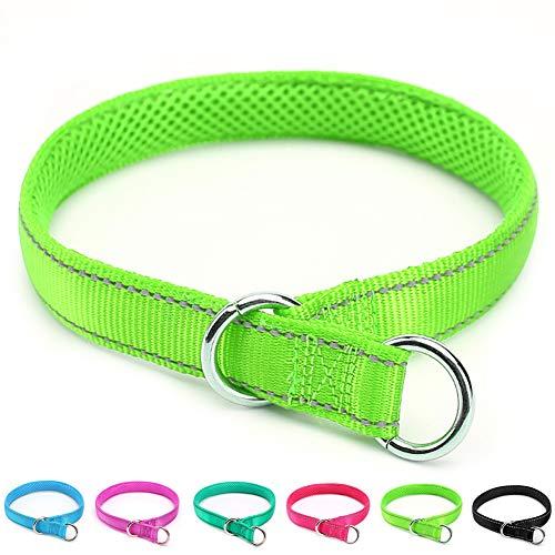 Mycicy Collare per strozzatore per Cani Riflettente, Collare Antiscivolo per addestramento in Morbido Nylon per Cani (1'x 22',Verde)