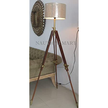 Nauticalmart Vintage Classic Wooden Tripod Floor Lamp