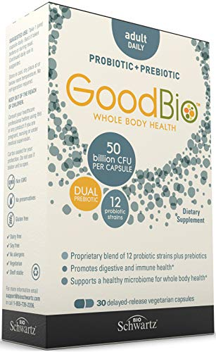 Premium Prebiotics and Probiotics Supplement for Immune Support & Digestive Health - 50 Billion CFU - Promotes Healthy Gut Flora with Inulin- 12 Shelf Stable Strains - 30 Day Supply from GoodBio