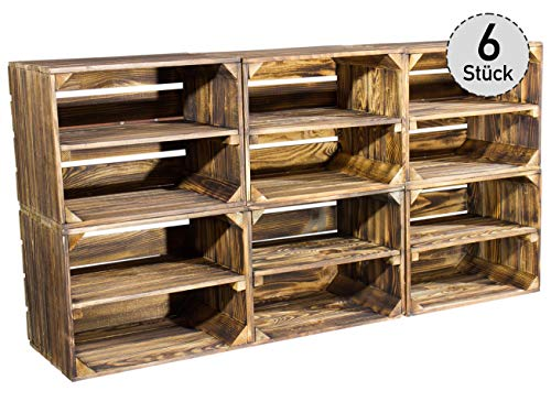 6er Set kleine geflammte Kiste für Schuhregal und Bücherregal - flambierte Obstkiste Holzkiste Weinkiste Apfelkiste Birnenkiste mit Mittelbrett / Zwischenbrett als Regal - Altes Land 50x40x30cm