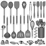 DOPGL Juego de utensilios de cocina, 50 piezas de silicona de cocina, sin BPA, no tóxico, antiadherente, resistente al calor, mejor utensilios de cocina con mango de acero inoxidable (gris)