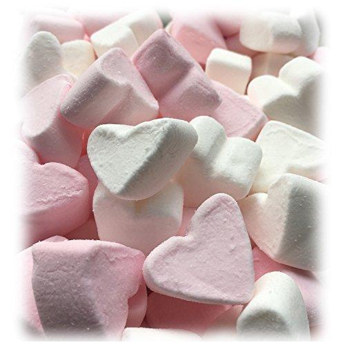 Marshmallow Herzen EXTRA FLUFFY zu Hochzeit Taufe Kommunion 1000g - rosa und weiß in Herzform - Vanillegeschmack - Tischdeko Fettfreie Nascherei Candybar Gastgeschenk - Topqualität im 1000g Beutel