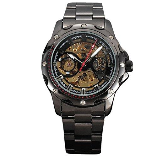 2017Top winner automático mecánico Hombre Relojes Inoxidable Remaches Caso Esqueleto Dial Titanio Macho Regalo de Acero Completa los Relojes de Pulsera