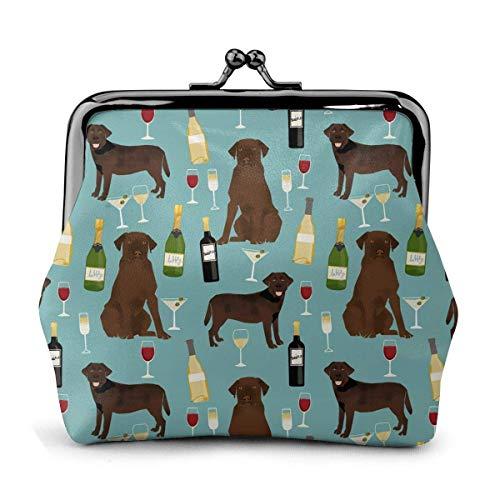 Labrador Retriever Feierliche Champagner Glas Vintage Beutel Mädchen Kiss-Lock Geldbörse Geldbörse Schnalle Leder Münze Geldbörsen Schlüssel