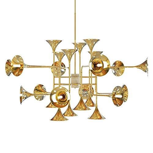 JIA Metall Horn Musikinstrument neo-klassischen Kronleuchter Moderne schlanke Mode Persönlichkeit Kunst entworfene Leuchte,Golden,24 Köpfe