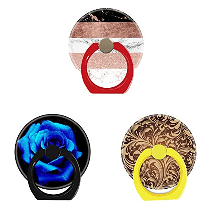 Bsxeos 360°Rotation Cell Phone Ring Holder with Car Mount Work for All Smartphones and Tablets-Dramatic Blue Rose-Golden Floral-Modern Chic Color Block Rose Gold Marble Stripes(3 Pack)
