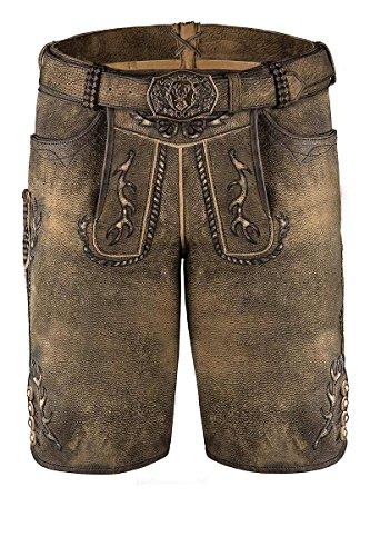 Spieth & Wensky MOSER Trachten Lederhose kurz mit Gürtel braun antik Gonzales 004574, Material Leder, Größe 44