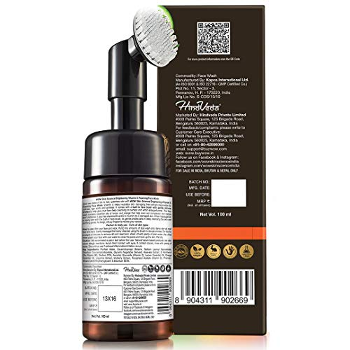 WOW Skin Science Brightening Vitamin C Foaming Face Wash with Built-In Face Brush for deep cleansing - No Parabens, Sulphate, Silicones & Color - 100mL