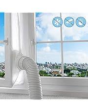 Fönstertätning för luftkonditionering, varmluftsstopp för universalfönster, lätt att installera inget behov av att borra hål luftbytesskydd med dragkedja och kroktejp (400 cm)