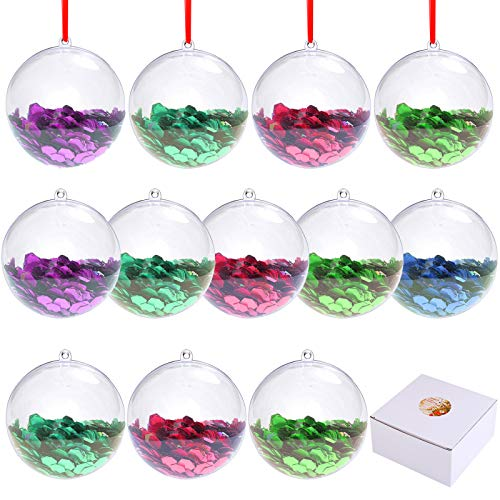 Aneco 12 Pieces 80mm Clear Plastic Fillable Ball Christmas Baubles Craft Ornaments DIY Bath Bomb Molds Christmas Decorations Tree Balls for Holiday Party Home Decor