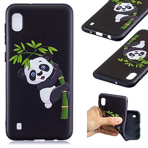 HopMore Compatible pour Coque Samsung Galaxy A10 2019 Silicone Noir Étui Motif Drôle Créative Panda Kawaii Etui Samsung A10 Souple Antichoc Housse de Protection Mince Gel Case Fine - Panda de Bambou