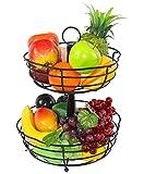 ESYLIFE 2 Tier Petal Shape Counter Fruit Bread Basket Assembled Fruit Bowl, Black