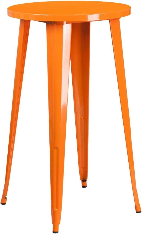Flash Furniture Commercial Grade 24 Round Orange Metal Indoor-Outdoor Bar Table Set with 4 Cafe Stools