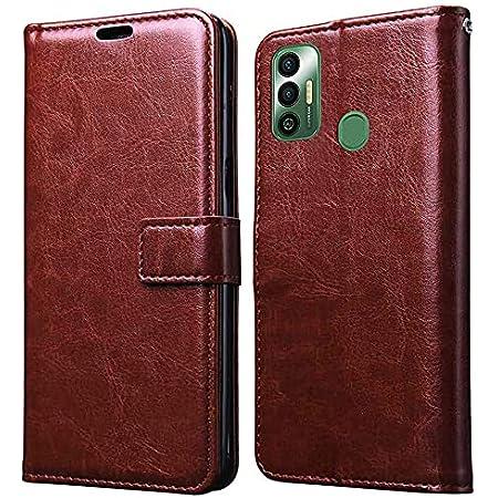Jkobi Leather | Inner TPU | Foldable Stand | Wallet Card Slots Vintage Flip Cover Case for Tecno Spark 7 | 7T (Brown)