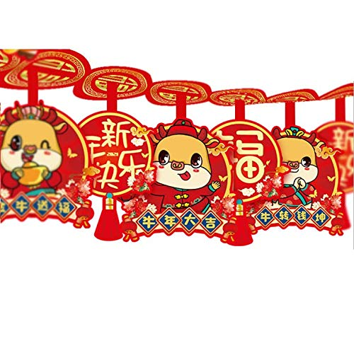 Chris.W 2021 Happy Chinese Lunar New Year Decoration Garland Banner, Spring Festival Party Hanging Decor for Year of The Ox for Home Office Bar(9.85ft Yd)