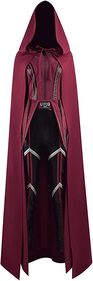 Women Girls Wanda Maximoff Costume Red Cloak Tops Pants Scarlet Witch Cosplay Halloween Oufits
