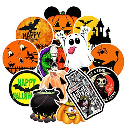 50pcs Funny Halloween Stickers for Water Bottle Windows, Halloween Decorations Gift for Party Kids Children Teens(WYST0150)